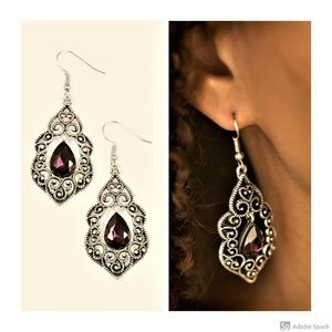 Work The CROWN - Purple Faceted Glass Earrings